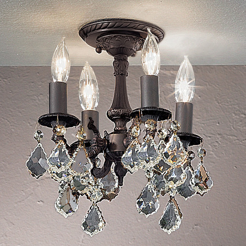 Classic Lighting 57345 AGB CBK Majestic Crystal Flushmount in Aged Bronze (Imported from Spain)