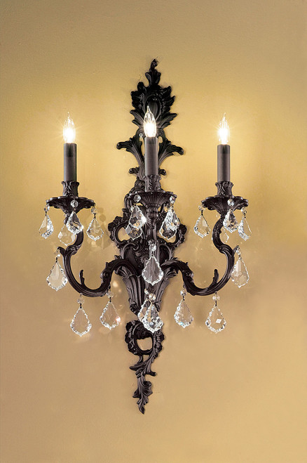 Classic Lighting 57343 AGP CBK Majestic Crystal Wall Sconce in Aged Pewter (Imported from Spain)