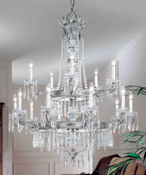 Classic Lighting 57313 MS I Duchess Crystal Flushmount in Millennium Silver (Imported from Spain)