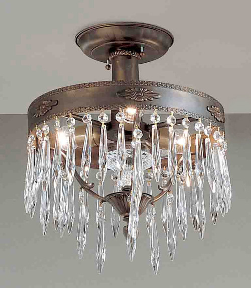 Classic Lighting 57313 AGB AI Duchess Crystal Flushmount in Aged Bronze (Imported from Spain)