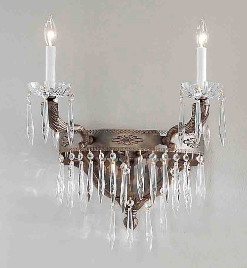 Classic Lighting 57312 AGB AI Duchess Crystal Wall Sconce in Aged Bronze (Imported from Spain)