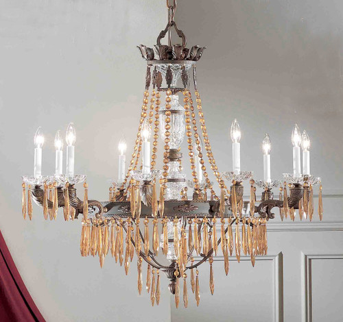 Classic Lighting 57310 AGB AI Duchess Crystal Chandelier in Aged Bronze (Imported from Spain)