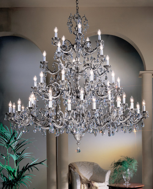 Classic Lighting 57250 MS Princeton II Cast Brass Chandelier in Millennium Silver (Imported from Spain)