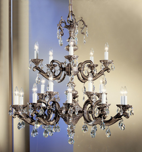 Classic Lighting 57220 RB S Princeton II Crystal Chandelier in Roman Bronze (Imported from Spain)