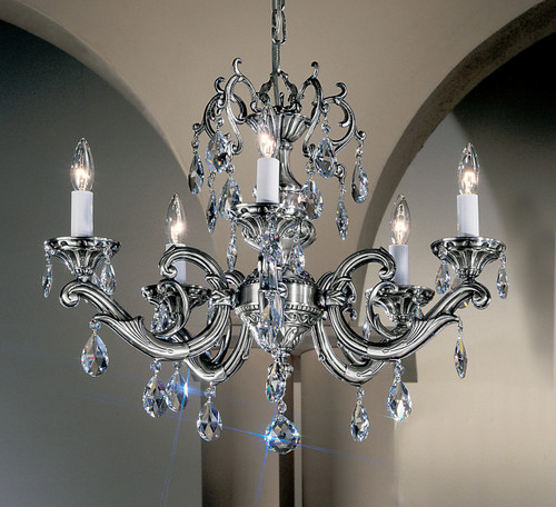 Classic Lighting 57205 MS Princeton II Cast Brass Chandelier in Millennium Silver (Imported from Spain)