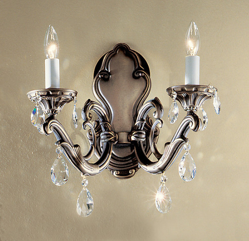 Classic Lighting 57202 RB C Princeton II Crystal Wall Sconce in Roman Bronze (Imported from Spain)