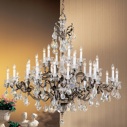 Classic Lighting 57130 RB CBK Via Firenze Crystal Chandelier in Roman Bronze (Imported from Spain)