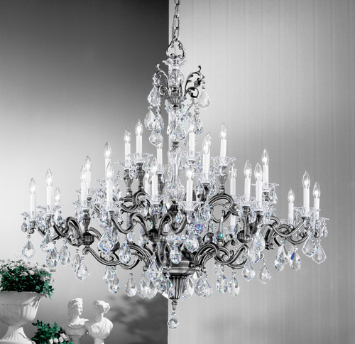 Classic Lighting 57130 MS CBK Via Firenze Crystal Chandelier in Millennium Silver (Imported from Spain)