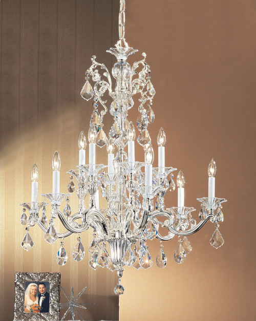 Classic Lighting 57112 SP CBK Via Firenze Crystal Chandelier in Silver (Imported from Spain)