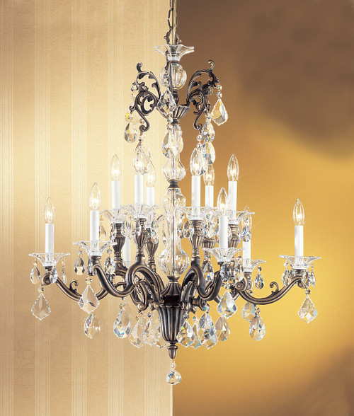 Classic Lighting 57112 RB CBK Via Firenze Crystal Chandelier in Roman Bronze (Imported from Spain)