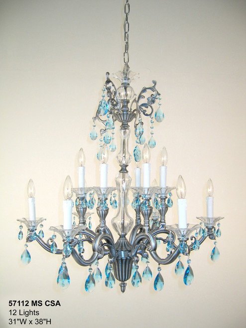 Classic Lighting 57112 MS IRC Via Firenze Crystal Chandelier in Millennium Silver (Imported from Spain)