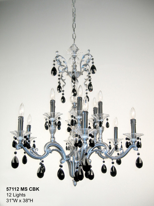 Classic Lighting 57112 MS CBK Via Firenze Crystal Chandelier in Millennium Silver (Imported from Spain)