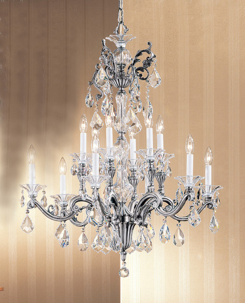Classic Lighting 57112 MS C Via Firenze Crystal Chandelier in Millennium Silver (Imported from Spain)