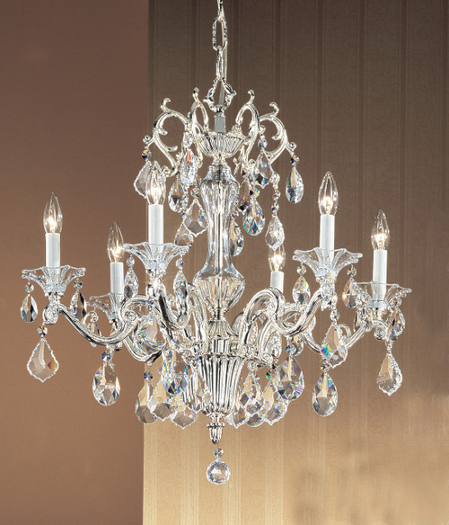 Classic Lighting 57106 SP SC Via Firenze Crystal Chandelier in Silver (Imported from Spain)