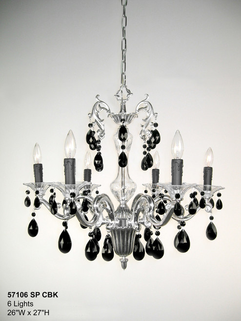 Classic Lighting 57106 SP CBK Via Firenze Crystal Chandelier in Silver (Imported from Spain)