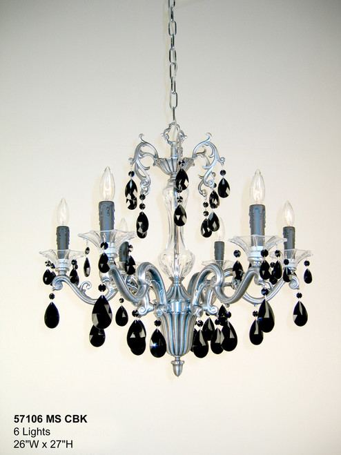 Classic Lighting 57106 MS CBK Via Firenze Crystal Chandelier in Millennium Silver (Imported from Spain)