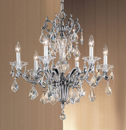 Classic Lighting 57106 MS C Via Firenze Crystal Chandelier in Millennium Silver (Imported from Spain)