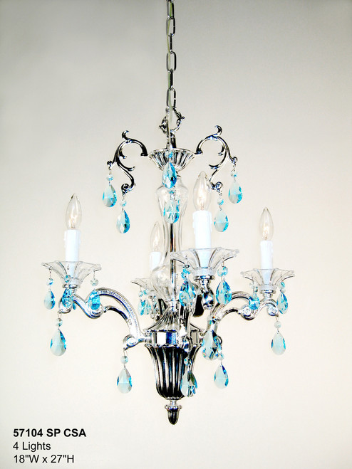 Classic Lighting 57104 SP SJT Via Firenze Crystal Mini Chandelier in Silver (Imported from Spain)