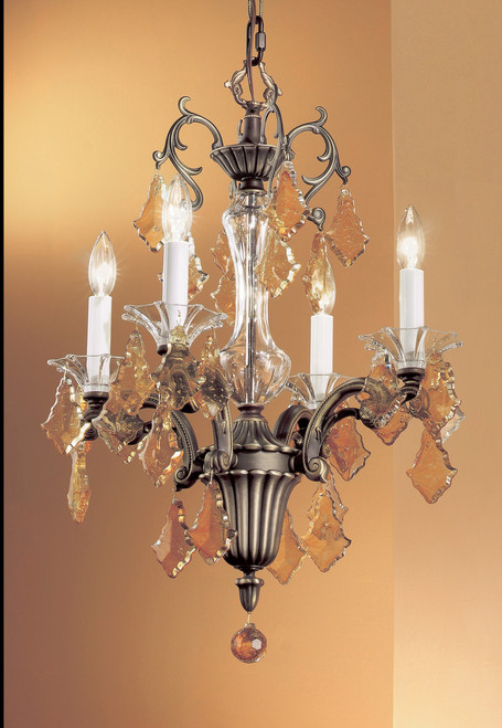 Classic Lighting 57104 RB CBK Via Firenze Crystal Mini Chandelier in Roman Bronze (Imported from Spain)