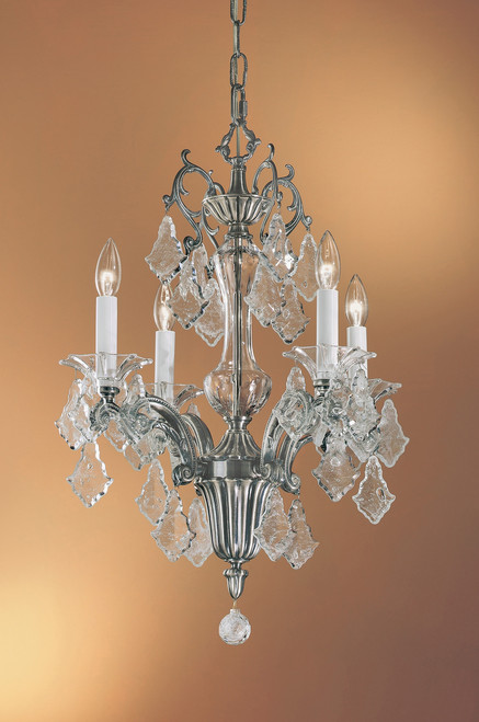 Classic Lighting 57104 MS SJT Via Firenze Crystal Mini Chandelier in Millennium Silver (Imported from Spain)