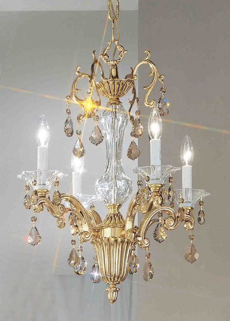 Classic Lighting 57104 BBK CSA Via Firenze Crystal Mini Chandelier in Bronze/Black Patina (Imported from Spain)