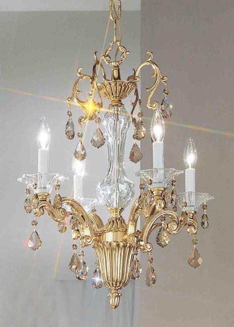 Classic Lighting 57104 BBK CBK Via Firenze Crystal Mini Chandelier in Bronze/Black Patina (Imported from Spain)