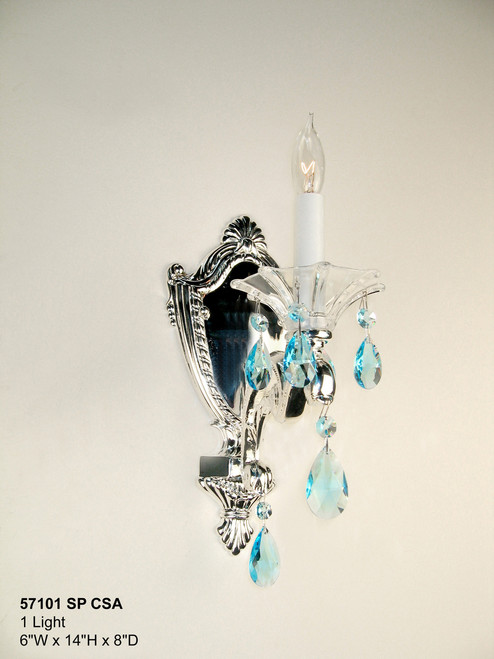 Classic Lighting 57101 SP SC Via Firenze Crystal Wall Sconce in Silver (Imported from Spain)