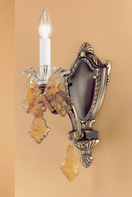 Classic Lighting 57101 RB IRC Via Firenze Crystal Wall Sconce in Roman Bronze (Imported from Spain)