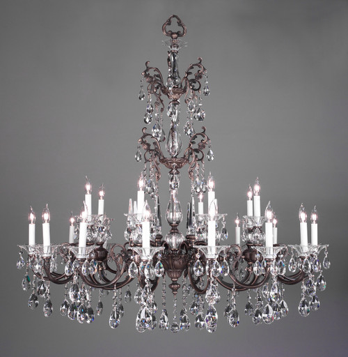 Classic Lighting 57065 RB CP Via Lombardi Crystal Chandelier in Roman Bronze (Imported from Spain)