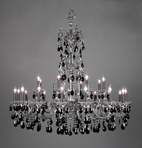 Classic Lighting 57065 MS CBK Via Lombardi Crystal Chandelier in Millennium Silver (Imported from Spain)
