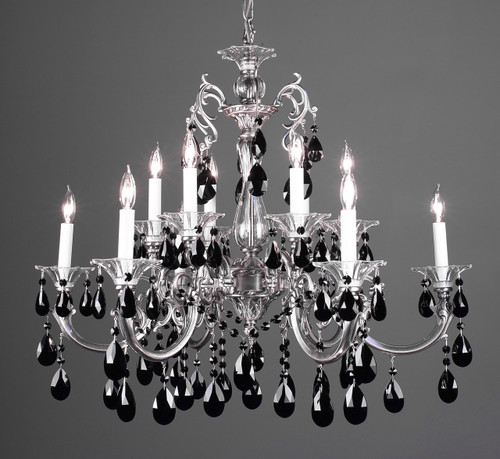 Classic Lighting 57064 MS CBK Via Lombardi Crystal Chandelier in Millennium Silver (Imported from Spain)