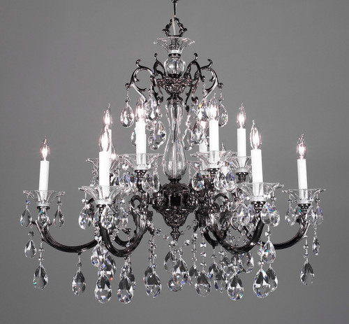 Classic Lighting 57063 EP SJT Via Lombardi Crystal Chandelier in Ebony Pearl (Imported from Spain)