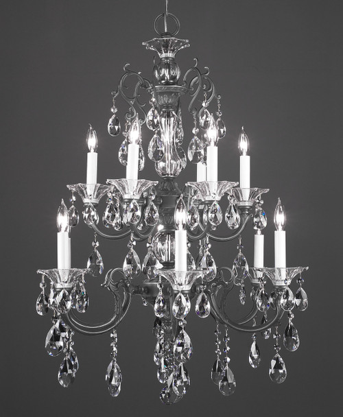 Classic Lighting 57062 SS CBK Via Lombardi Crystal Chandelier in Silverstone (Imported from Spain)