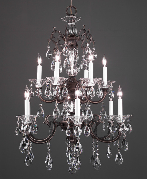 Classic Lighting 57062 RB CBK Via Lombardi Crystal Chandelier in Roman Bronze (Imported from Spain)