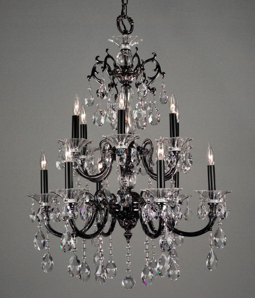 Classic Lighting 57062 MS CBK Via Lombardi Crystal Chandelier in Millennium Silver (Imported from Spain)