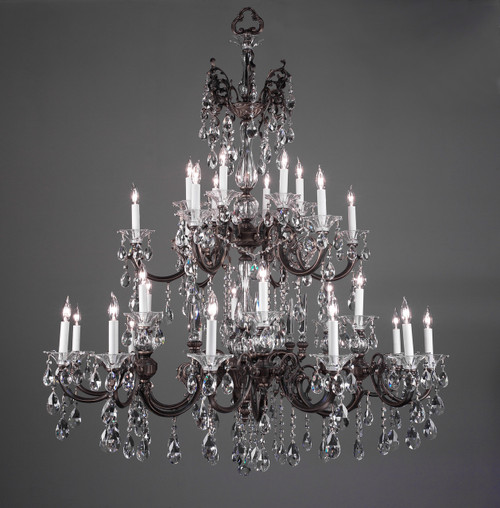 Classic Lighting 57060 RB CBK Via Lombardi Crystal Chandelier in Roman Bronze (Imported from Spain)