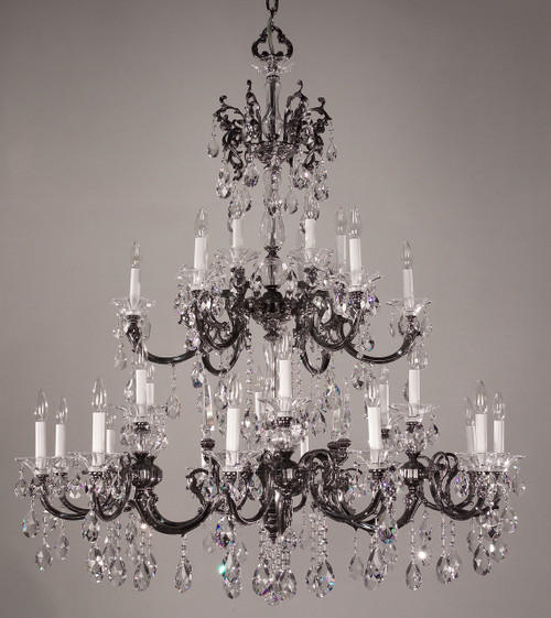 Classic Lighting 57060 EP CP Via Lombardi Crystal Chandelier in Ebony Pearl (Imported from Spain)