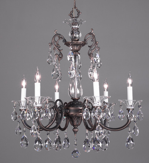 Classic Lighting 57056 RB CBK Via Lombardi Crystal Chandelier in Roman Bronze (Imported from Spain)