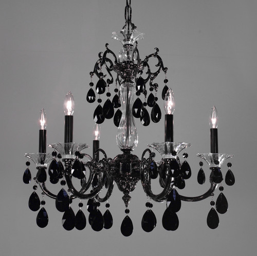 Classic Lighting 57056 EP CP Via Lombardi Crystal Chandelier in Ebony Pearl (Imported from Spain)