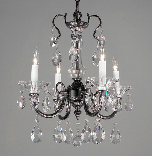 Classic Lighting 57054 EP SJT Via Lombardi Crystal Mini Chandelier in Ebony Pearl (Imported from Spain)