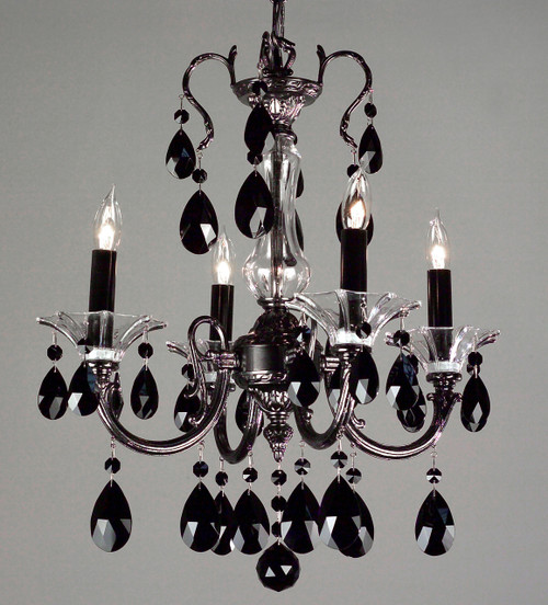Classic Lighting 57054 EP CBK Via Lombardi Crystal Mini Chandelier in Ebony Pearl (Imported from Spain)
