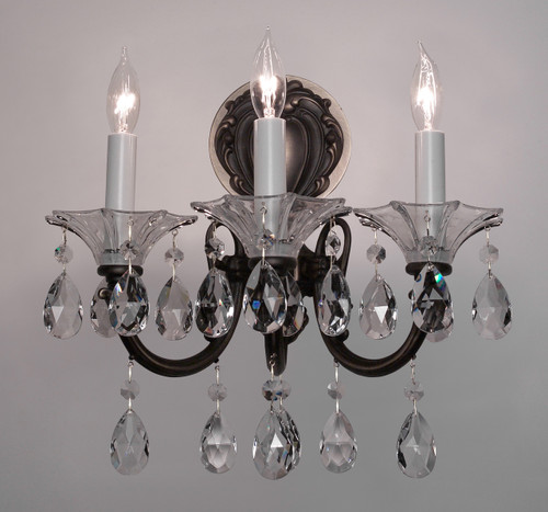 Classic Lighting 57053 SS CGT Via Lombardi Crystal Wall Sconce in Silverstone (Imported from Spain)
