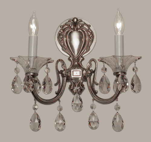 Classic Lighting 57052 MS CBK Via Lombardi Crystal Wall Sconce in Millennium Silver (Imported from Spain)