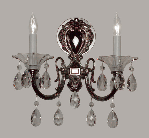 Classic Lighting 57052 G CBK Via Lombardi Crystal Wall Sconce in 24k Gold (Imported from Spain)