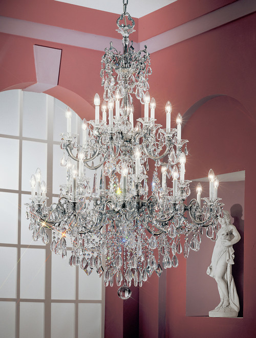 Classic Lighting 57030 MS CBK Via Venteo Crystal Chandelier in Millennium Silver (Imported from Spain)