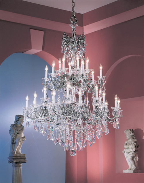 Classic Lighting 57030 EP SJT Via Venteo Crystal Chandelier in Ebony Pearl (Imported from Spain)