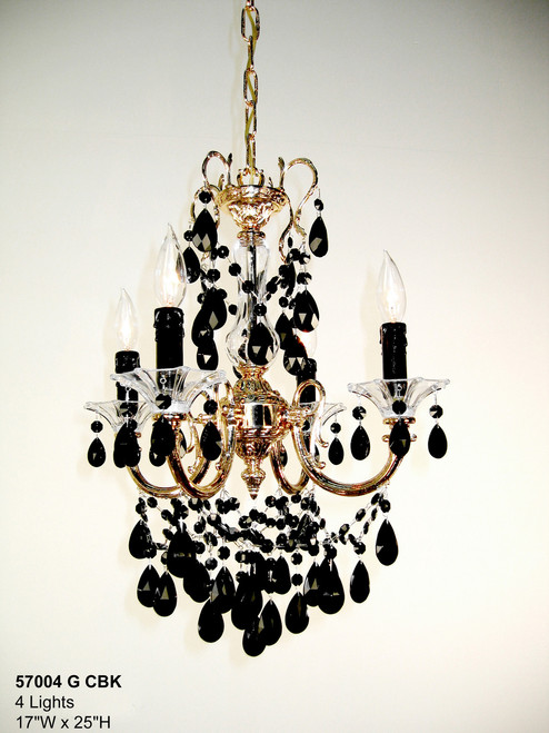 Classic Lighting 57004 G CBK Via Venteo Crystal Mini Chandelier in 24k Gold (Imported from Spain)