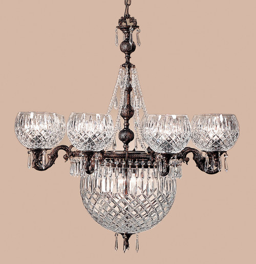 Classic Lighting 55538 OX CP Waterbury Cast Brass/Lead Crystal Chandelier in Oxidized Bronze (Imported from Spain)