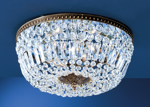 Classic Lighting 52314 RB CP Crystal Baskets Crystal Flushmount in Roman Bronze
