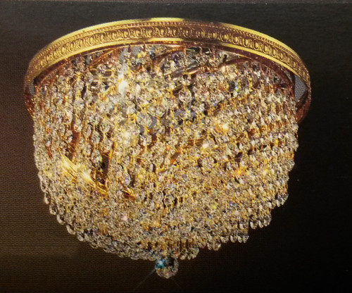 Classic Lighting 51414 CP Crystal Baskets Crystal Flushmount in Olde World Bronze